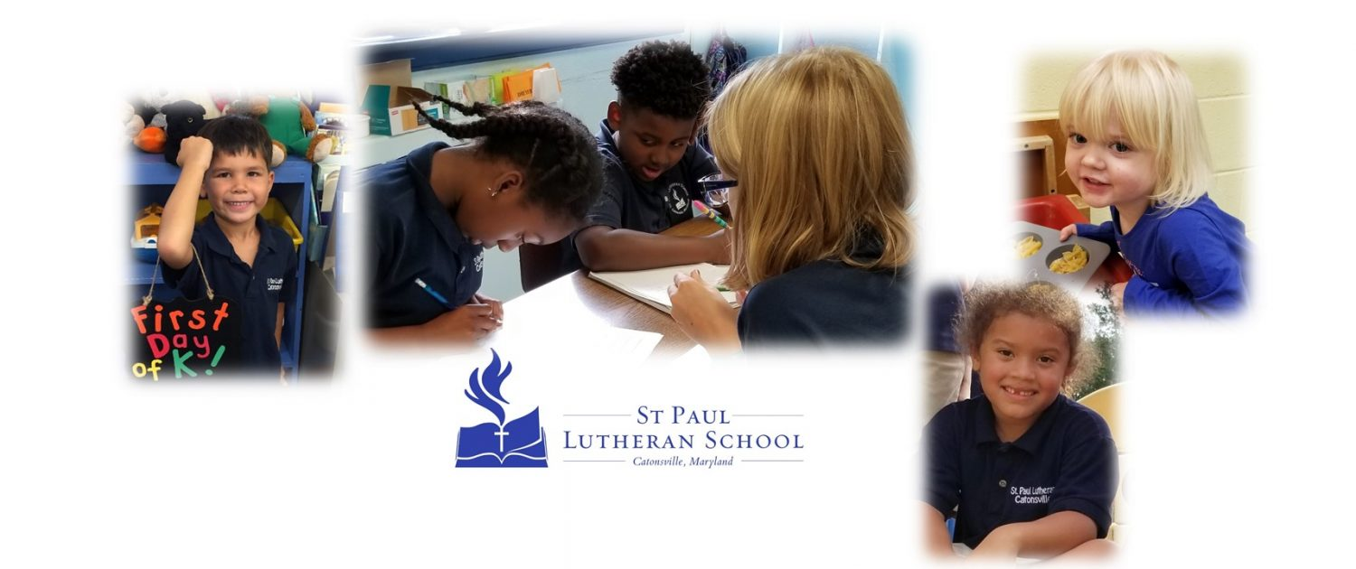 Photo of happy and studious Kindergarten, Fifth Grade elementary and early childhood/preschool students with St Paul Lutheran School Catonsville logo