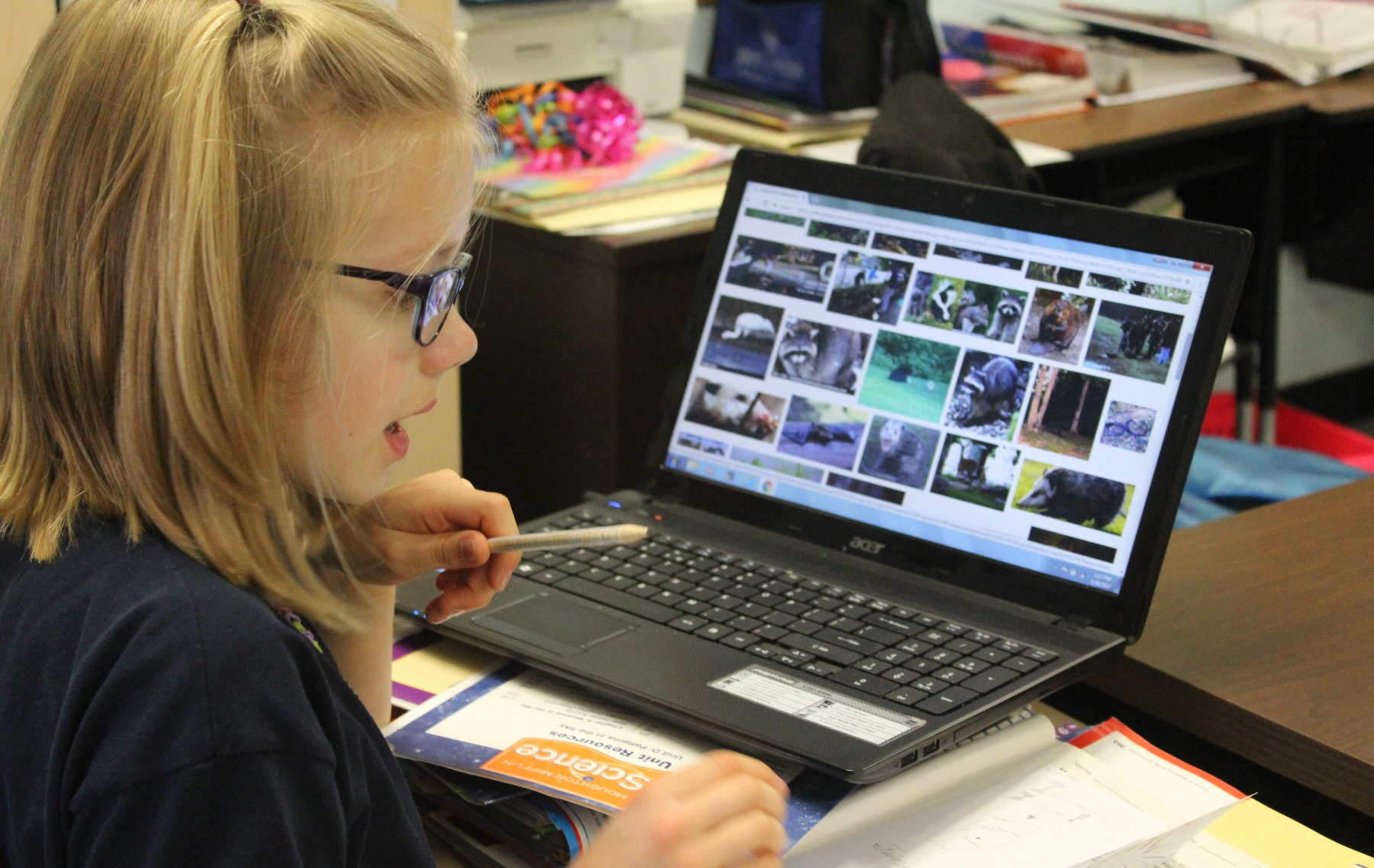 Elementary school girl using Chromebook at St Paul Lutheran School Catonsville